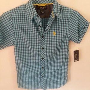 boys U.S. Polo ASSN button down short sleeve shirt